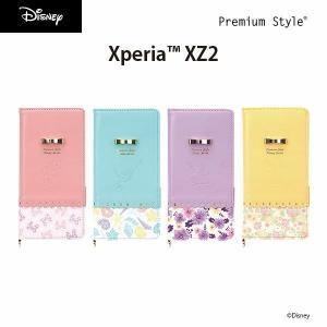 XperiaXZ2用 ディズニー Disney フリップカバー パステルリボン|pg-a