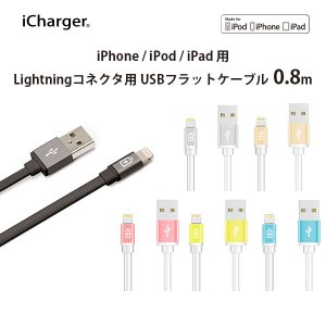 Lightningコネクタ用 USBフラットケーブル 0.8m|pg-a