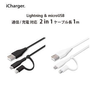 変換コネクタ付き 2in1 USBケーブル(Lightning&micro USB) 1m pg-a