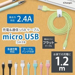 iCharger micro USB コネクタ USB フラットケーブル 1.2m|pg-a