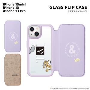 iPhone 13 mini/13/13 Pro用 ガラスフリップケース トムとジェリー|pg-a