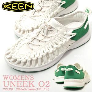 アウトドア スニーカー KEEN キーン レディース UNEEK O2 ユニーク スリッポン 1018735 白 緑 ホワイト サンダル シューズ 靴 2018新作|phants