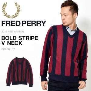 【得割20】 長袖 Vネックニット フレッドペリー FRED PERRY メンズ BOLD STRIPE V NECK ストライプ セーター|phants