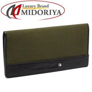 モンブラン MONTBLANC 長財布 二つ折り 札入れ メンズ モスグリーン ブラック /041378|phasemidoriya78
