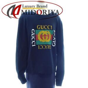グッチ GUCCI 454569 メンズ ロゴ コットン スウェットシャツ ブラック Sサイズ/042264【中古】|phasemidoriya78