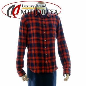 クロムハーツ CHROME HEARTS チェックシャツ 長袖 クロスパッチ サイズS オレンジ 黒 2211-304-4889 /042707 メンズ【中古】|phasemidoriya78