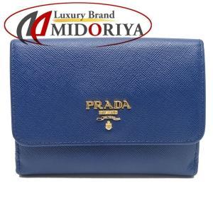プラダ PRADA 財布 コンパクト 二つ折り サフィアーノ レザー BLUETTE 青 1M0523 /043059【中古】|phasemidoriya78