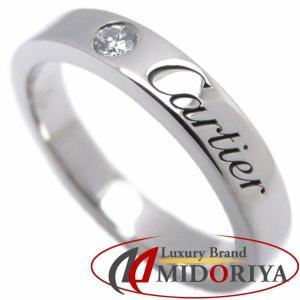 カルティエ Cartier エングレーブドウエディングリング ダイヤモンド1P Pt950 #46 6号 B4051300 指輪/097930【中古】|phasemidoriya78