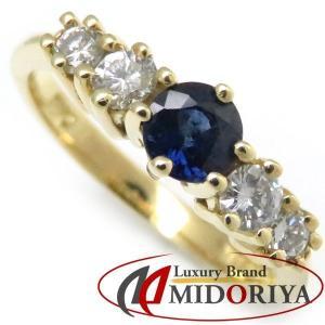 ティファニー TIFFANY サファイヤリング サファイア1P ダイヤモンド4P 18KYG 5号 指輪/098794【中古】|phasemidoriya78