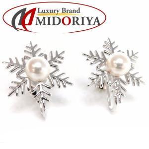 ミキモト MIKIMOTO パールイヤリング K18WG 真珠 雪の結晶モチーフ スノードロップ/098875【中古】|phasemidoriya78