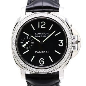 パネライ PANERAI ルミノールマリーナ 44mm ダイヤベゼル ダイヤモンドコレクション 世界限定40本 PAM00031 手巻き 黒文字盤 F番 メンズ/34398 【中古】 腕時計|phasemidoriya78