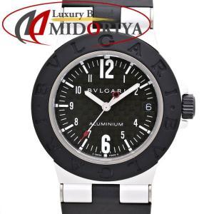 ブルガリ BVLGARI アルミニウム カーボン ラバーベルト デイト クォーツ レディース AL32TA /35034 【中古】 腕時計 phasemidoriya78