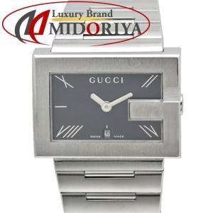 グッチ GUCCI 100M Gフェイス 黒文字盤 メンズ クオーツ /35267 【中古】 腕時計|phasemidoriya78