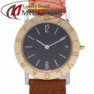 ブルガリ BVLGARI ブルガリブルガリ BB30SGL K18/SS クォーツ 黒文字盤 革ベルト ユニセックス /35598 【中古】 腕時計 ボーイズ|phasemidoriya78