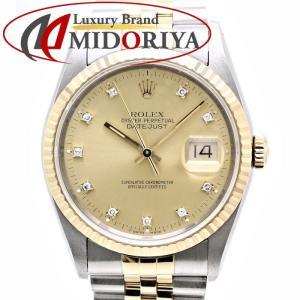 ROLEX ロレックス 16233G デイトジャスト 10Pダイヤモンド シャンパンゴールド YG/SSコンビ メンズ 自動巻き /35861【中古】 腕時計|phasemidoriya78