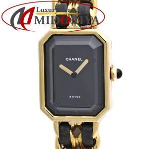 シャネル CHANEL プルミエール GP/黒革 H0001 レディース Lサイズ /35943 【中古】 腕時計|phasemidoriya78