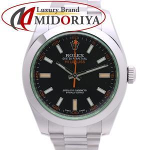 ロレックス ROLEX ミルガウス 116400GV ブラック グリーンガラス ランダム メンズ /...