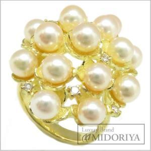 指輪 パール4.5〜5.0ミリ ダイヤモンド0.13ct リング 12号 K18YG/62850|phasemidoriya78