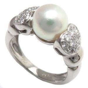 指輪 ハートリング Pt900 パール8.3ミリ ダイヤモンド0.40ct 11号 プラチナ/63089|phasemidoriya78