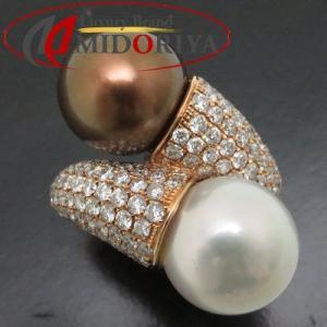 リング パール12ミリ/12.5ミリ ダイヤモンド2.55ct K18PG ピンクゴールド 12号 指輪/63250【中古】 phasemidoriya78