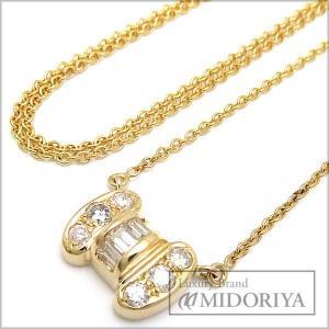 ダイヤネックレス 0.50ct 750YG リボンモチーフ  ダイヤモンド ペンダント/71849【中古】 phasemidoriya78