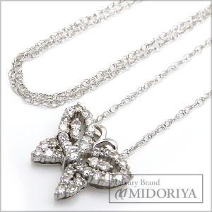 ダイヤネックレス 0.50ct Pt900xPt850 バタフライモチーフ  ダイヤモンド ペンダント/71862【中古】|phasemidoriya78
