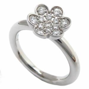 ミキモト リング MIKIMOTO フラワーリング 花モチーフ ダイヤモンド0.17ct K18WG 8号 18金ホワイトゴールド 指輪/94812|phasemidoriya78