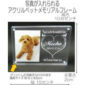 4018ペットの写真と名前が入るアクリル位牌 フォトフレームモニュメントMクリア DOG CATメモリアルプレート|pheart