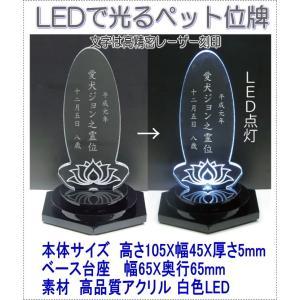 4650LEDできれいに光るペットアクリルミニLED位牌楕円蓮の花 黒台座 pheart