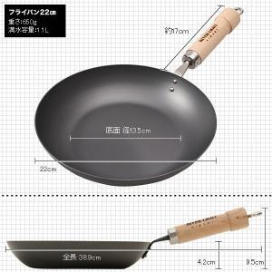 リバーライト 鉄フライパン22cm 極JAPAN 【3年保証&おまけ付き】|phezzan|02