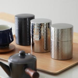 茶筒 槌目模様 茶箕付き 純銅製 ステンレス製(ミラー仕上/つや消し仕上)|phezzan