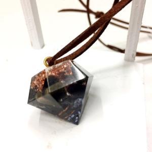 オルゴナイト ネックレス 型 金運 天然石 オブシディアン テラヘルツ ダイヤ型|philan