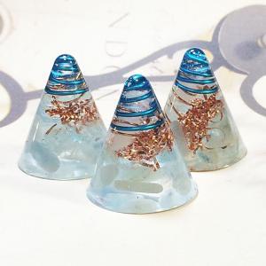 オルゴナイト 型 金運 天然石 アクアマリン ミニ円錐型 3個セット|philan