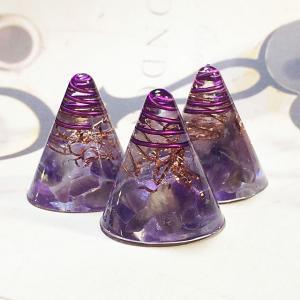 オルゴナイト 型 金運 天然石 アメジスト ミニ円錐型 3個セット|philan