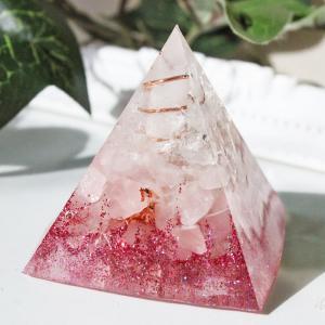 オルゴナイト 型 金運 天然石 ローズクォーツ ピラミッド型|philan