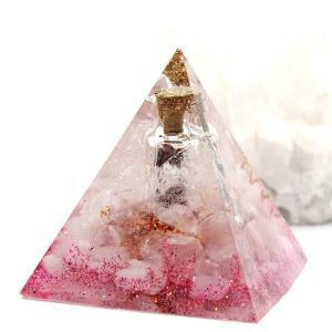 オルゴナイト 型 金運 天然石 ローズクォーツ ピラミッド型 小瓶入り|philan