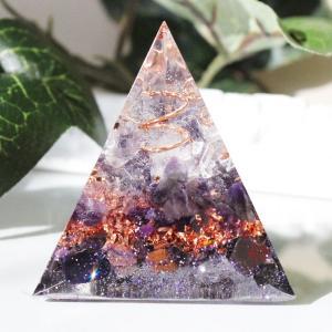オルゴナイト 型 金運 天然石 アメジスト スギライト 三角錐型|philan