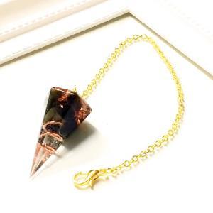 オルゴナイト ネックレス 型 金運 天然石 オブシディアン ペンデュラム チャーム 六角錐 philan
