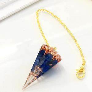 オルゴナイト ネックレス 型 金運 天然石 ラピスラズリ ペンデュラム チャーム 六角錐 philan