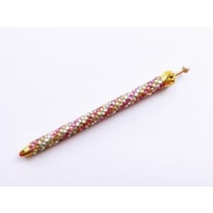 ボールペン キラキラペンULKA 3色ストライプ細 シルバー・ゴールド・ピンク ラインストーン 替え芯1本付き|philotrade
