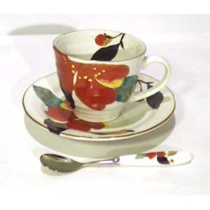 コーヒー碗皿 (カップ&ソーサー) スプーン付 「花かいろう」・山茶花 (0611-11)