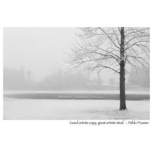 雪の公園モノクロポストカード photoroom-g