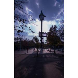 時計台の夕日ポストカード|photoroom-g