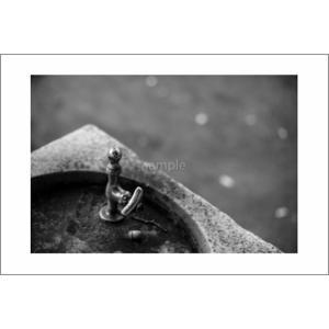 水飲み水栓モノクロポストカード|photoroom-g