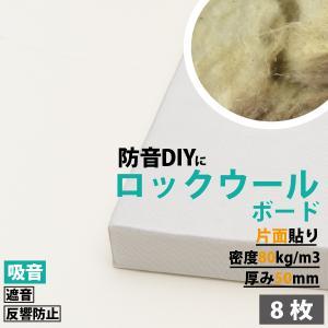 防音パネル 防音ボード 吸音 防音 DIY 遮音 騒音対策 ピアリビング ロックウールボード 密度80kg/m3 ガラスクロス片面貼り 白 605×910mm 厚さ50mm 8枚入|pialiving