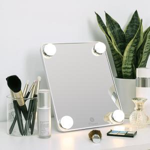 【送料無料】一台三役 ミラー+卓上ライト+化粧品収納 LED付き化粧鏡 卓上ミラー 拡大鏡付 角度調整 七色変換 メイク ブライトミラー メイク テーブルランプ