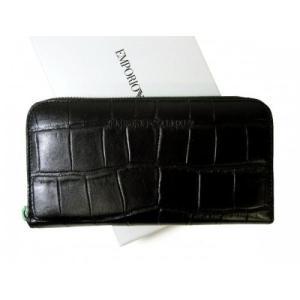 アルマーニ 財布 メンズ 長財布 クロコ型押し ラウンドファスナー エンポリオアルマーニ|piazza