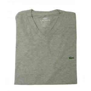 ラコステ Tシャツ  ピマ・コットン Vネック 5(M)サイズ (グレー)|piazza