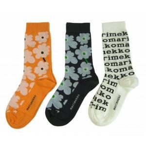 マリメッコ 靴下 ソックス ウニッコ Hieta Pieni Unikko Salla Logo 3足組|piazza|02