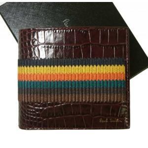 ポールスミス 財布 メンズ 二つ折 クロコ型押し ストライプ Bright Stripe piazza